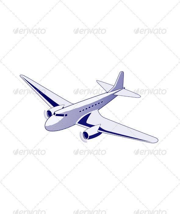Propeller Airplane Retro  - Travel Conceptual