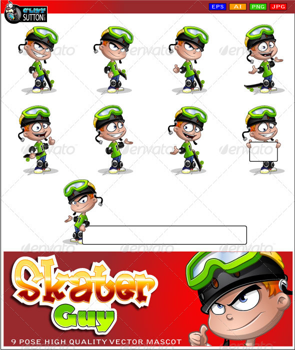 Skater Guy Mascot - People Characters