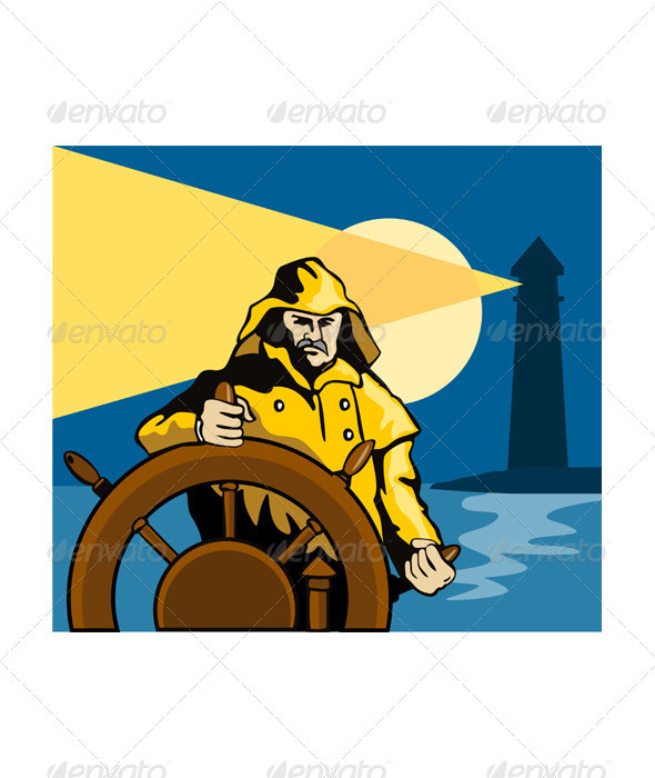 Fisherman Sea Captain Helm Retro - People Characters