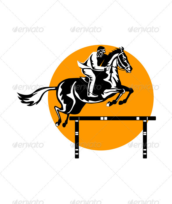 Equestrian Show Jumping Retro - Sports/Activity Conceptual