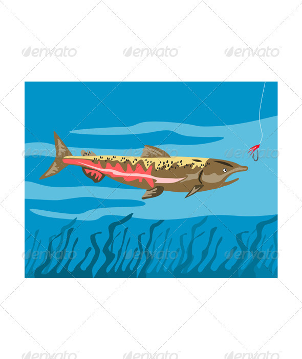 Trout Fish Retro - Animals Characters