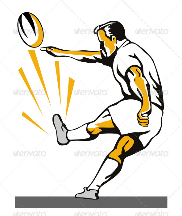 Rugby Player Kicking Ball Retro - Sports/Activity Conceptual