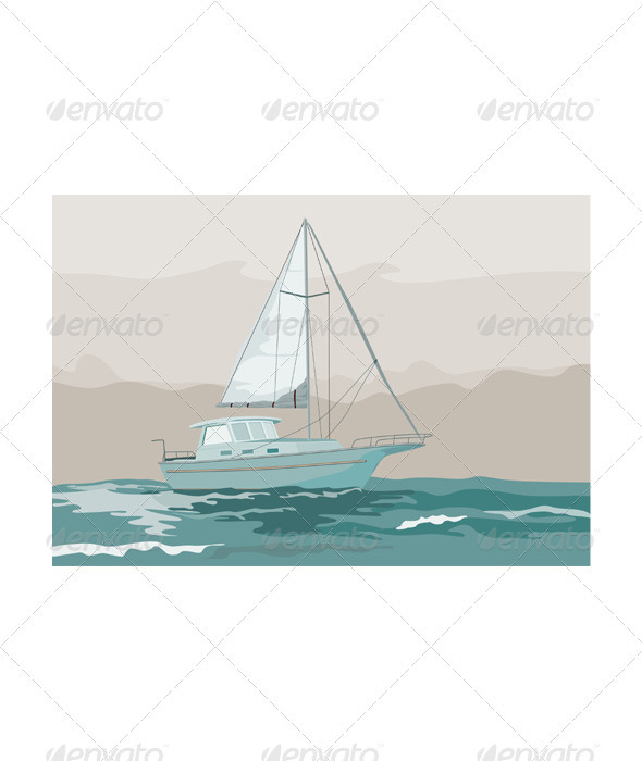 Sailboat Retro - Travel Conceptual