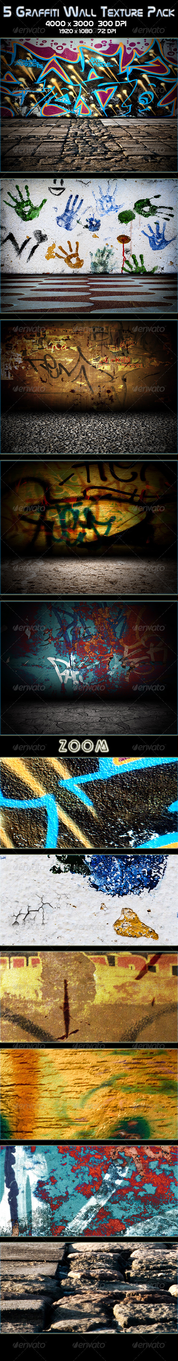 5 Graffiti Wall Texture Pack - Urban Backgrounds