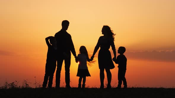 Silhouettes Of Happy Family Holding The Hands In The -8579