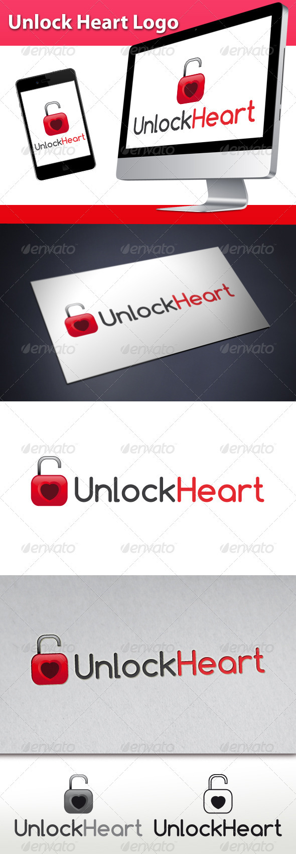Unlock Love Heart Logo - Symbols Logo Templates