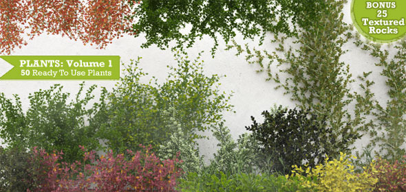 50 Exterior Plants For 3D's Max & Vray: Volume 1 - 3DOcean Item for Sale