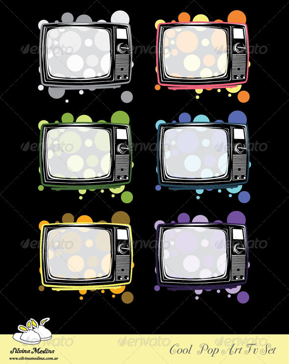 Cool Vintage Pop TV Set Vector - Objects Vectors