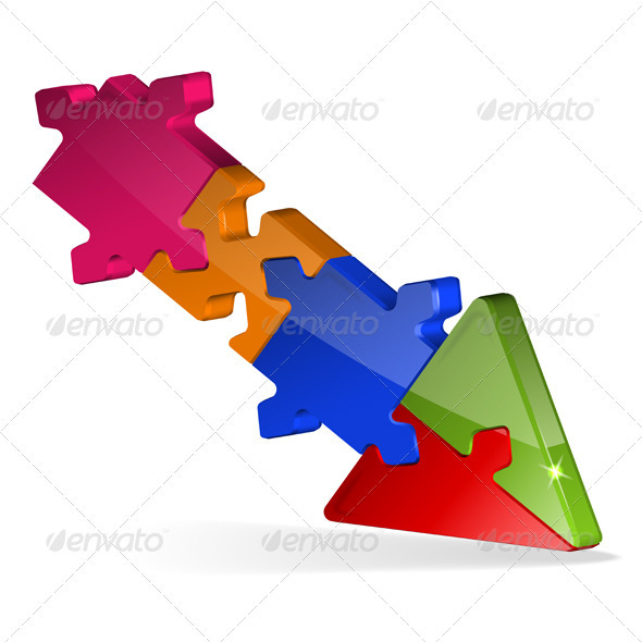 3D Puzzle Jigsaw Arrow - Concepts Business