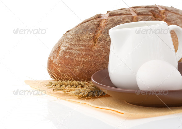 fresh bread on white background - Stock Photo - Images