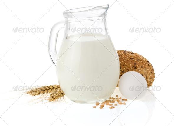 fresh bread on white background - Stock Photo - Images