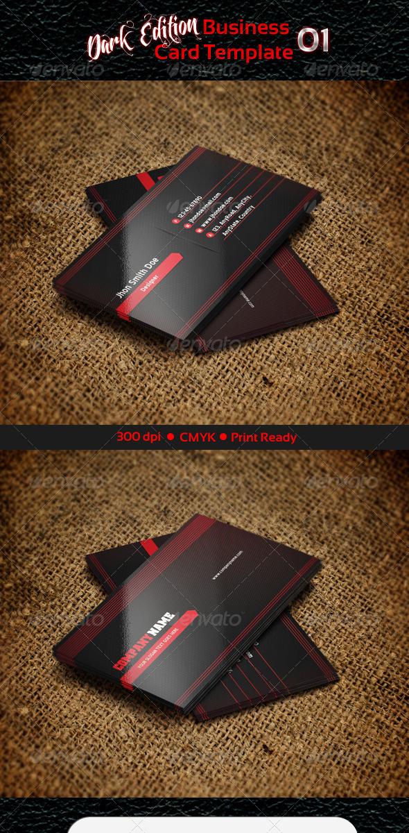 Business Card Template - Dark Edition 01 - Creative Business Cards