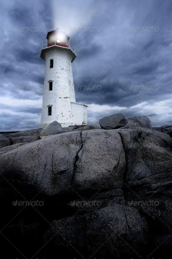 Peggy's Cove lighthouse - Stock Photo - Images