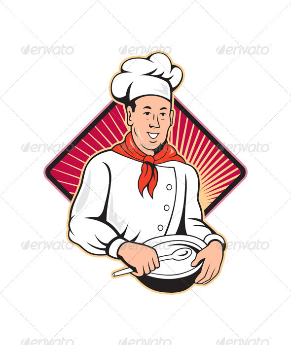 Chef Cook Baker Mixing Bowl Cartoon  - People Characters