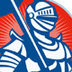 Knight Full Armor With Sword Retro  - GraphicRiver Item for Sale