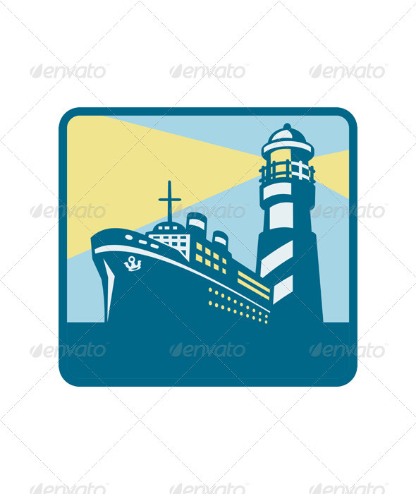 Passenger Ship Cargo Boat Lighthouse Retro  - Travel Conceptual