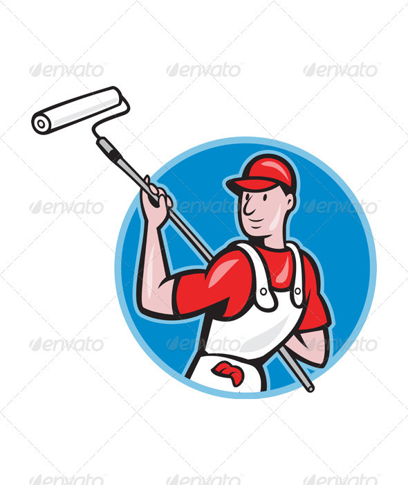 House Painter With Paint Roller Cartoon  - People Characters