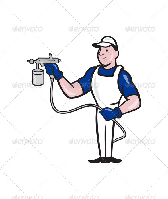 Spray Painter Spraying Gun Cartoon  - People Characters