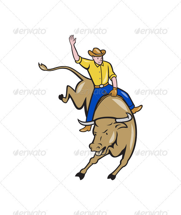 Rodeo Cowboy Bull Riding Cartoon  - Sports/Activity Conceptual