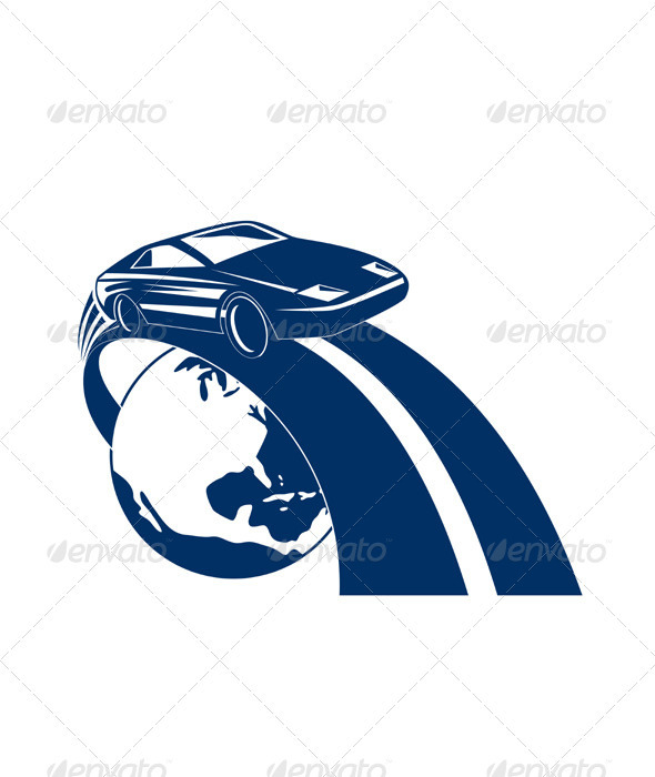 Car Coming Out of Globe - Miscellaneous Vectors
