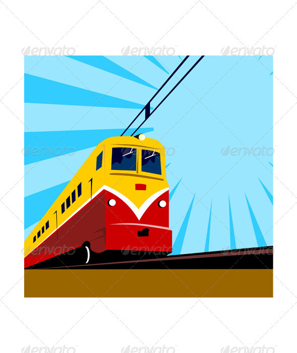 Electric Passenger Train Retro  - Travel Conceptual