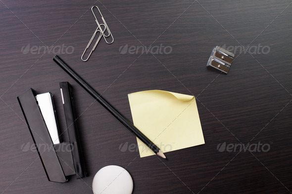 Blank Sticker And Pensil On The Wooden Table - Stock Photo - Images
