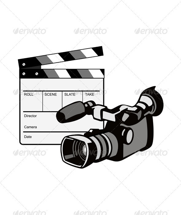 Video Camera Movie Clapboard Retro  - Media Technology