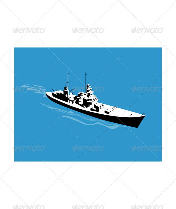 World War Two Battleship Warship Cruiser Retro  - Miscellaneous Vectors
