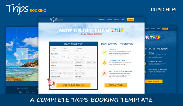 Trips Booking Template by Layerdrops   ThemeForest