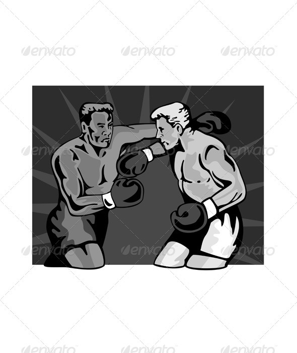 Boxer Boxing Knockout Punch Retr - Sports/Activity Conceptual