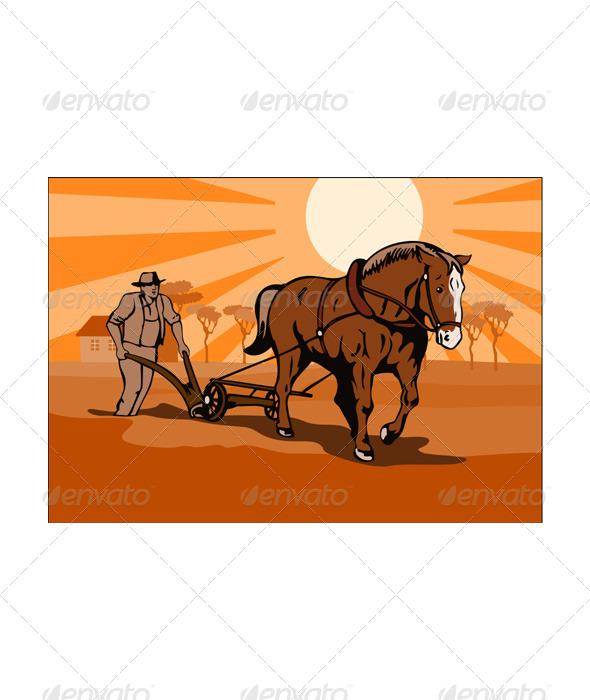 Farmer and Horse Plowing Farm Retro  - Miscellaneous Vectors