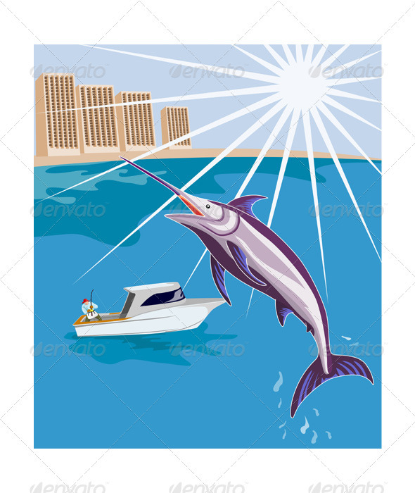 Blue Marlin Fish Jumping Retro - Miscellaneous Vectors