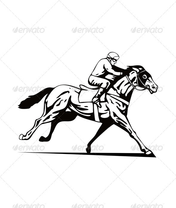 Horse and Jockey Racing Retro - Sports/Activity Conceptual