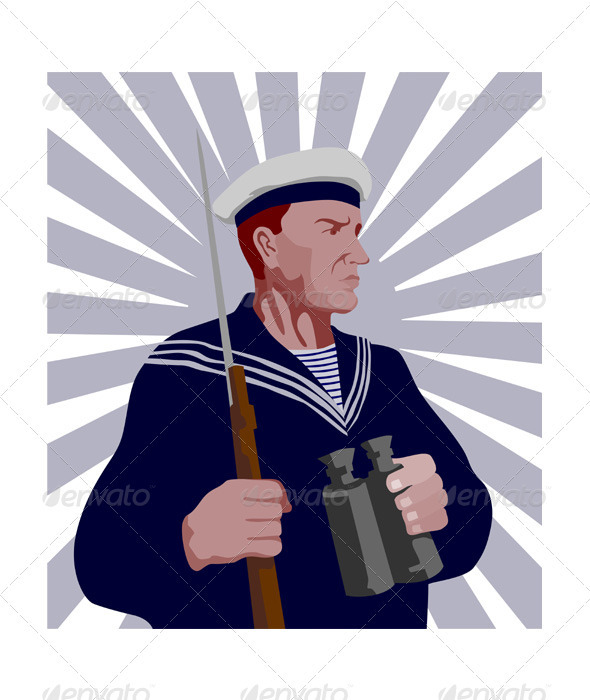 Navy Sailor Rifle Binoculars Retro  - People Characters