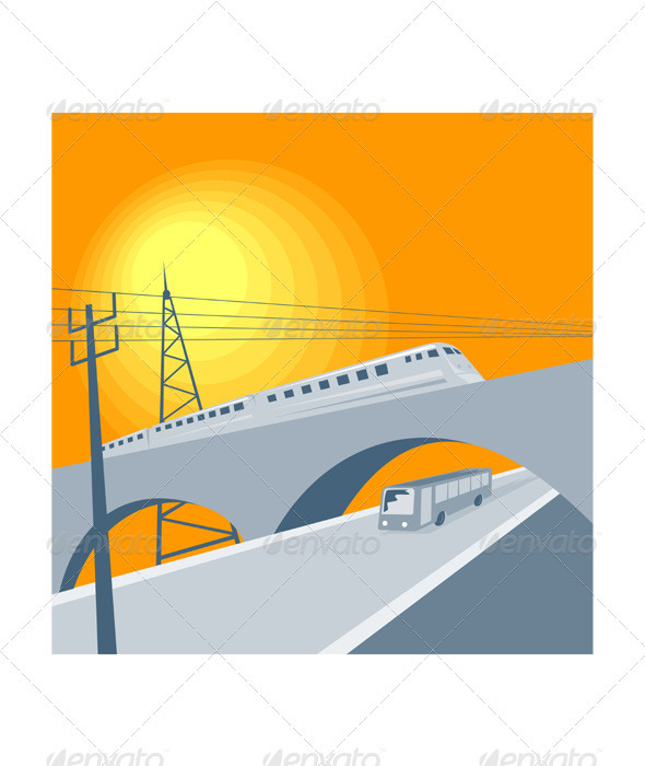 Train Bus Viaduct Retro - Miscellaneous Vectors