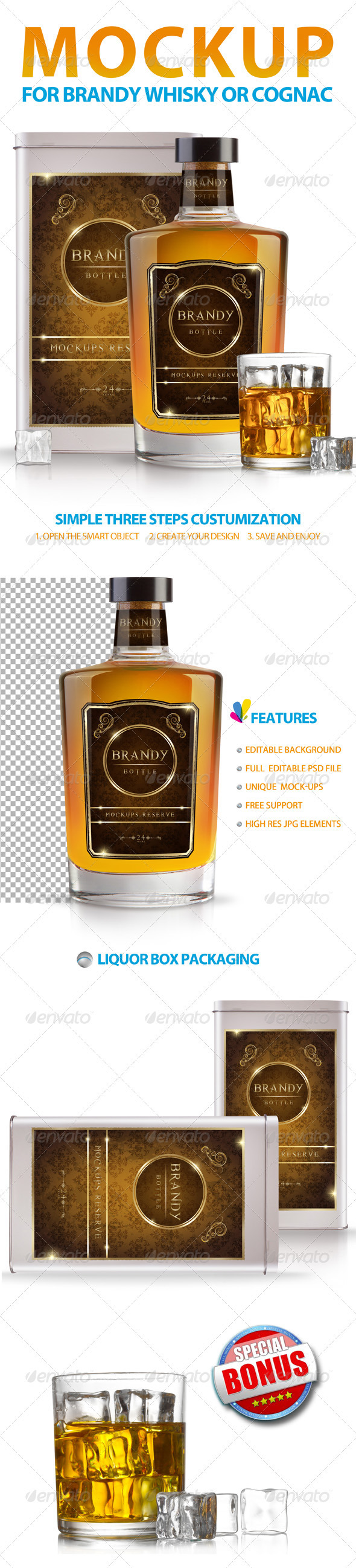 Brandy Whisky or Cognac Mockup - Food and Drink Packaging