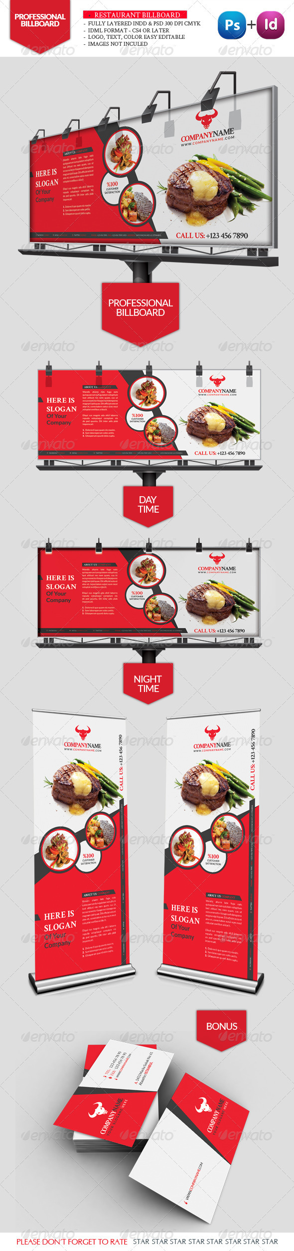 Restaurant Business Billboard - Signage Print Templates