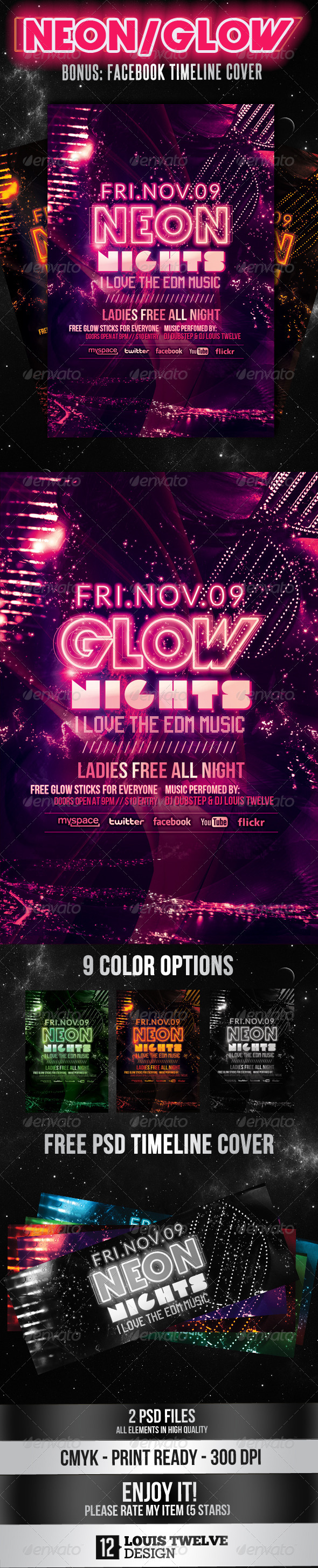 Neon Nights / Glow | Flyer + Facebook Cover