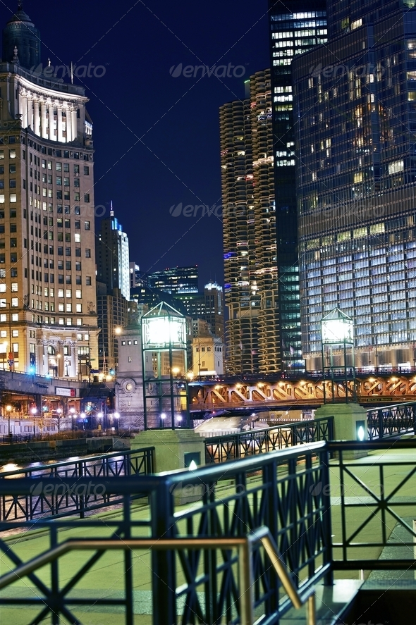 Chicago Colorful Night - Stock Photo - Images