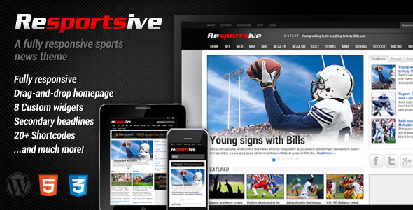 Resportsive – Responsive Sports News Theme