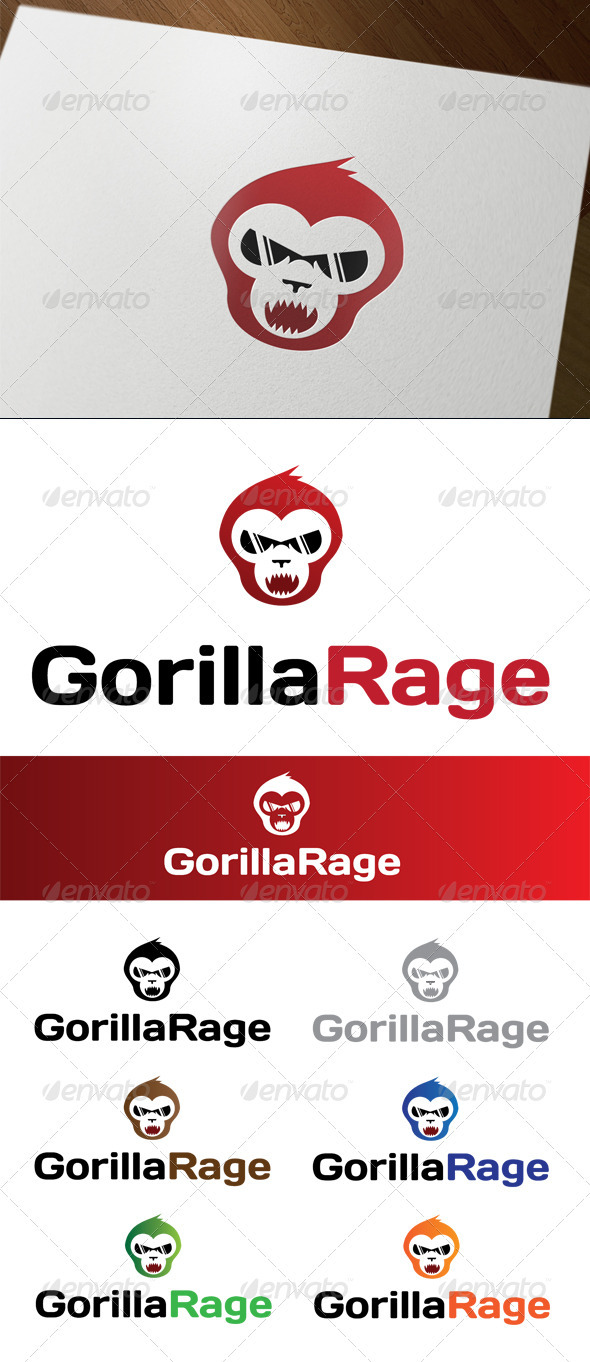 Gorilla Rage - Animals Logo Templates