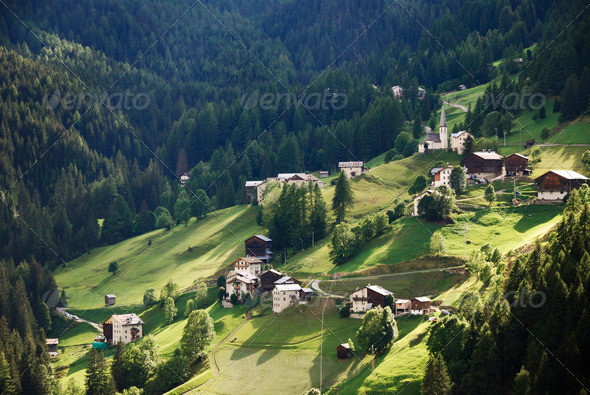 Alpine Farming Village - Stock Photo - Images