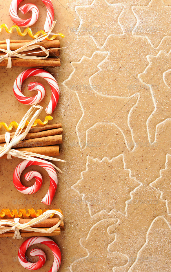 Christmas spices over gingerbread dough - Stock Photo - Images
