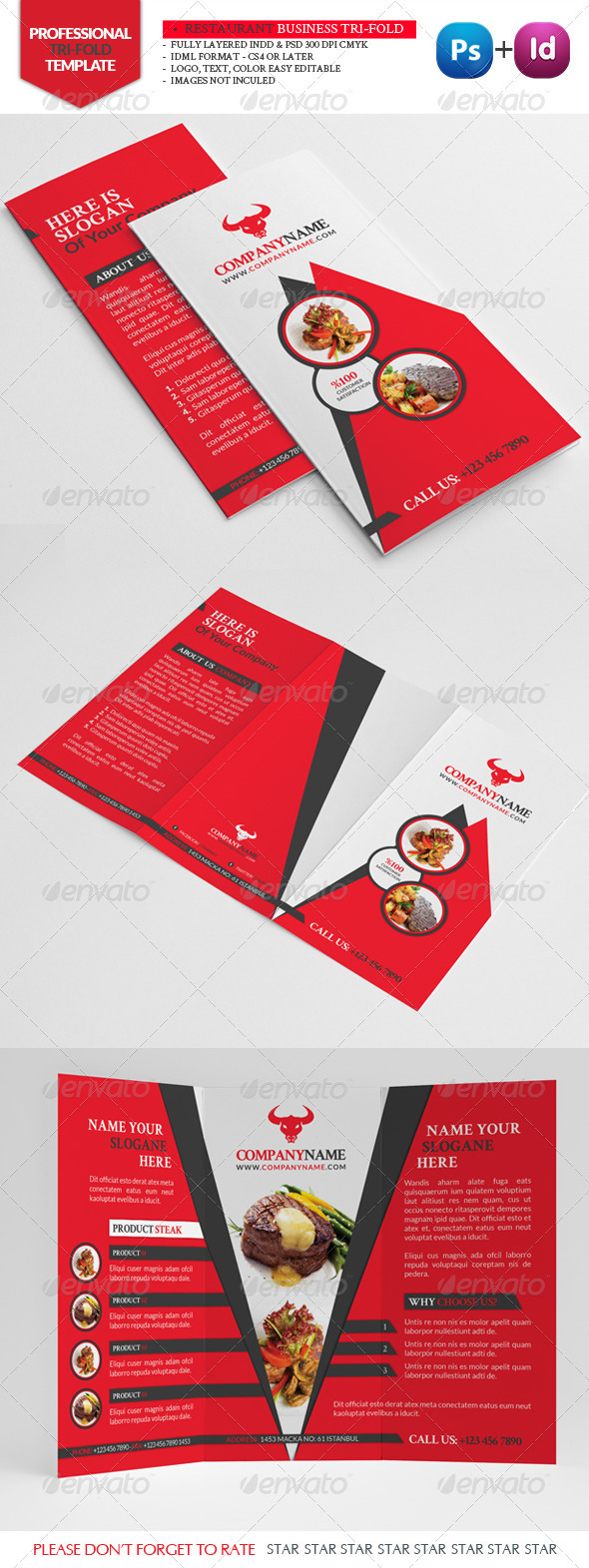 Restaurant Business Tri-Fold - Brochures Print Templates