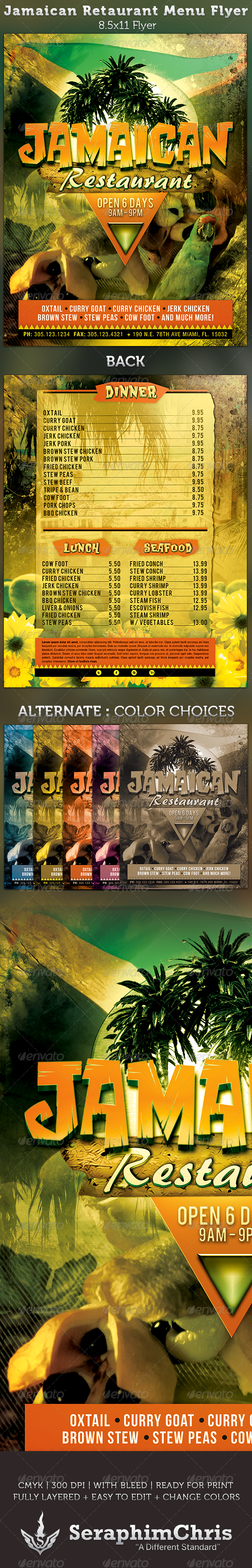 Jamaican Restaurant Menu Flyer Template - Restaurant Flyers