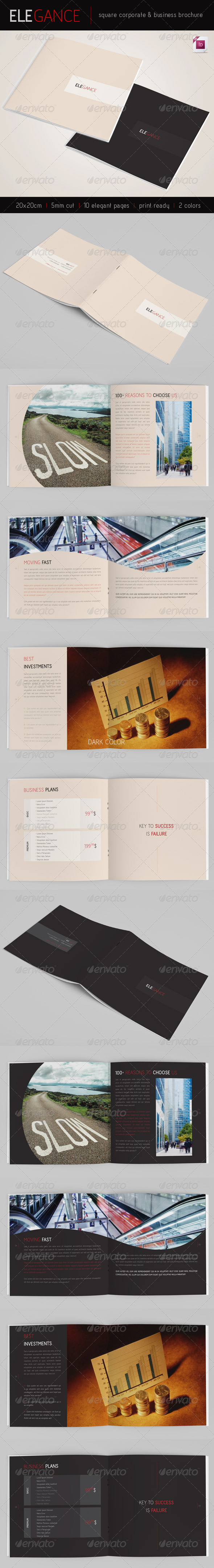 Elegance | Square 10 pages Brochure | 2 Colors - Corporate Brochures