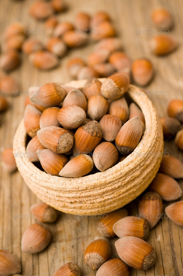 Hazelnuts in pot - Stock Photo - Images