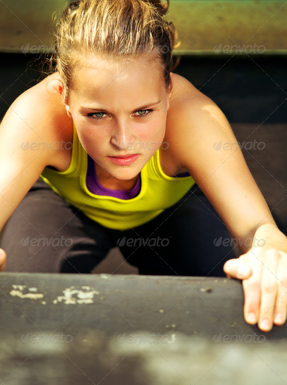 Traceur Participating In Parkour Determination - Stock Photo - Images