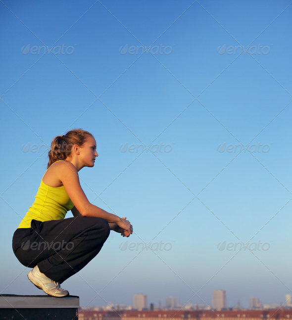 Traceur Participating In Parkour Balance - Stock Photo - Images