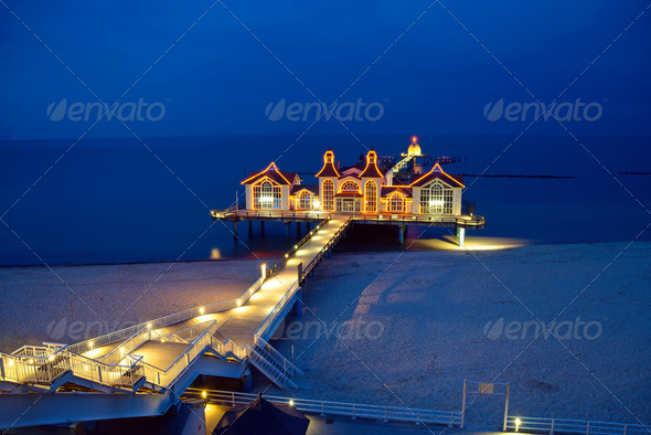 A pier on Rugia island - Stock Photo - Images